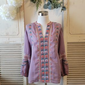 Johnny Was embroidered  boho blouse